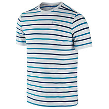 Buy Nike Tailwind Stripe Crewneck T-Shirt, White/Blue Online at johnlewis.com