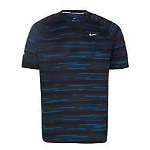 Buy Nike Miler Printed Short Sleeve T-Shirt, Blue Online at johnlewis.com