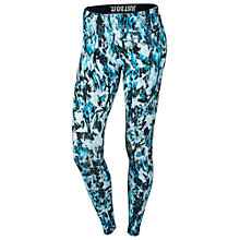 Buy Nike Leg-A-See Mishmash Allover Print Running Tights, Light Blue Lacquer/Black Online at johnlewis.com