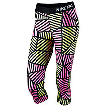 Buy Nike Pro Web Capri Pants, Pink/Yellow Online at johnlewis.com