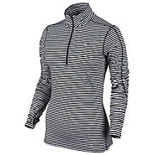 Buy Nike Element Stripe Half Zip Running Top, Black/White Online at johnlewis.com