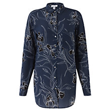 Buy Jigsaw Iris Print Silk Shirt, Navy Online at johnlewis.com