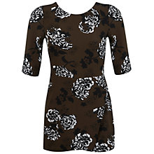 Buy Miss Selfridge Petite Floral Print Playsuit, Khaki Online at johnlewis.com
