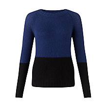 Buy Jigsaw Cashmere Two Tone Jumper, Navy Online at johnlewis.com