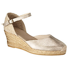 Buy John Lewis Castel Leather Espadrille Sandals, Gold Online at johnlewis.com