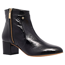 Buy Kurt Geiger Savannah Patent Mid Heel Ankle Boots, Black Online at johnlewis.com