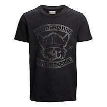 Buy Selected Homme Biker Blood Graphic Print T-Shirt, Black Online at johnlewis.com