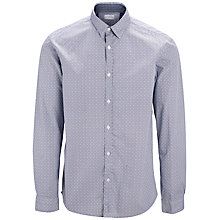 Buy Selected Homme One Nick Geometric Print Shirt, Bright White/Blue Online at johnlewis.com
