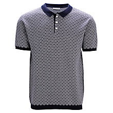 Buy Selected Homme Jerry Pattern Polo Shirt, Navy Blue Online at johnlewis.com