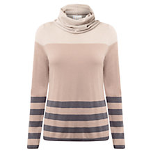 Buy East Stripe Cowl Neck Jumper, Stone Online at johnlewis.com