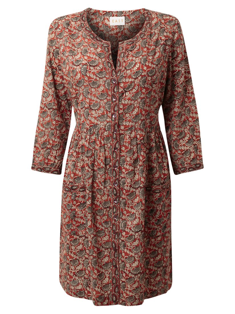 east selina print cotton tunic dress rust, east, selina, print, cotton, tunic, dress, rust, 16|12|14|18|20|8, special offers, womenswear offers, women, womens dresses, womens dresses offers, 1803417