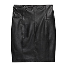 Buy Mango Leather Pencil Skirt, Black Online at johnlewis.com