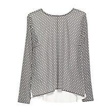 Buy Mango Printed Mixed Blouse, Natural White Online at johnlewis.com