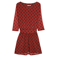 Buy Mango Paisley Print Waist Dress, Dark Red Online at johnlewis.com