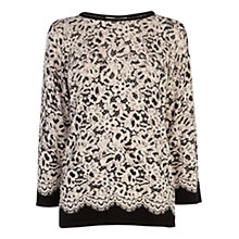 Buy Coast Sansa Lace Print Knitted Jumper, Mono Online at johnlewis.com