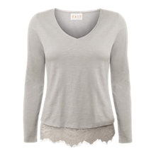 Buy East V Neck Lace Trim Top, Smoke Online at johnlewis.com