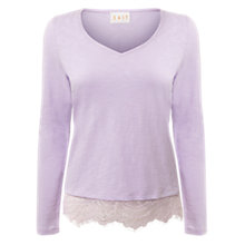 Buy East V Neck Lace Trim Top, Lavender Online at johnlewis.com