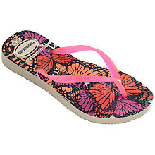 Buy Havaianas Slim Butterfly Flip Flops, Orange/Multi Online at johnlewis.com