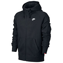 Buy Nike AW77 Fleece Full Zip Training Hoodie, Black/White Online at johnlewis.com