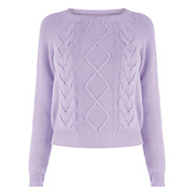 Buy Oasis Crop Cable Jumper, Lilac Online at johnlewis.com