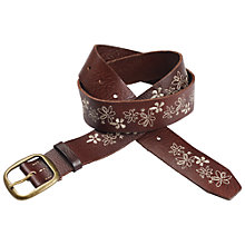 Buy Fat Face Floral Embroidered Jeans Belt, Dark Tan Online at johnlewis.com