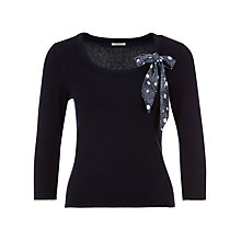 Buy Precis Petite Spot Bow Neck Jumper, Navy Online at johnlewis.com
