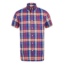 Buy Woolrich John Rich & Bros. Madras Check Short Sleeve Shirt, Blue Skyline Online at johnlewis.com