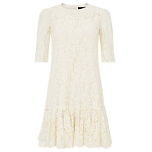 Buy Needle & Thread Lace Frill Dress, Cream Online at johnlewis.com