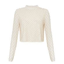 Buy Needle & Thread Grid Mesh Top, Dust Pink Online at johnlewis.com