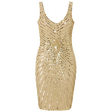 Buy Aidan Mattox Beaded Tank Cocktail Dress, Champagne Online at johnlewis.com