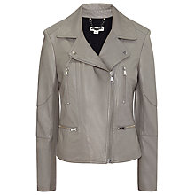 Buy Whistles Jett Leather Biker Jacket, Grey Online at johnlewis.com