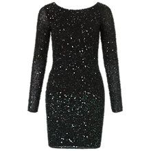 Buy Aidan Mattox Ombre Beaded Cocktail Dress, Black/Green Online at johnlewis.com