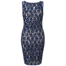 Buy Aidan Mattox Beaded Lace Sheath Dress, Twilight Online at johnlewis.com