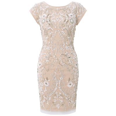Aidan Mattox Beaded Cocktail Dress, Ivory/Taupe