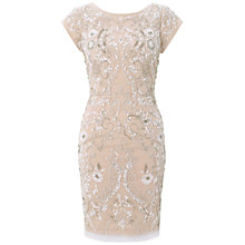 Buy Aidan Mattox Beaded Cocktail Dress, Ivory/Taupe Online at johnlewis.com