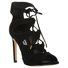 Buy Dune Chantilly Lace Up Stiletto Court Shoes, Black Suede Online at johnlewis.com