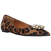 Buy Dune Black Harriot Pointed Jewelled Flats, Leopard Online at johnlewis.com