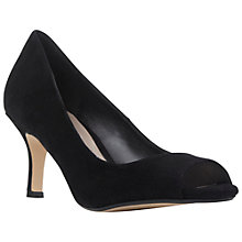 Buy Dune Delphinn Peep Toe Court Shoe, Black Suede Online at johnlewis.com
