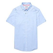 Buy Ben Sherman Dot Pattern Short Sleeve Oxford Shirt, Sky Blue Online at johnlewis.com