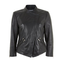 Buy Mint Velvet Leather Collarless Jacket, Black Online at johnlewis.com