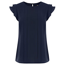 Buy Oasis Frill Crepe Top, Navy Online at johnlewis.com