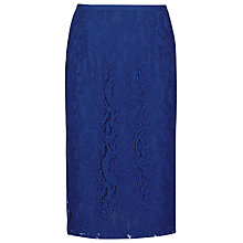 Buy Reiss Devi Lace Pencil Skirt, Blue Passion Online at johnlewis.com
