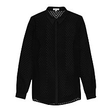 Buy Reiss Kumi Sheer Stripe Shirt, Black Online at johnlewis.com