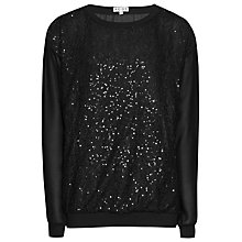 Buy Reiss Dover Sequin Lace Top, Black Online at johnlewis.com