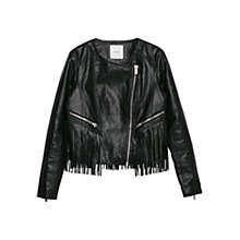 Buy Mango Fringe Jacket, Black Online at johnlewis.com