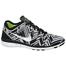 Buy Nike Free 5.0 Print Women's Running Shoes, Black/Metallic Online at johnlewis.com