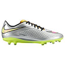 Buy Nike Hypervenom Phelon Premium FG Men's Football Boots, Silver/Green Online at johnlewis.com