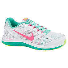 Buy Nike Dual Fusion Run 3 Women's Running Shoes, White/Pink Online at johnlewis.com