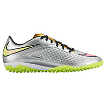 Buy Nike Hypervenom Phelon Premium TF Men's Football Boots, Silver/Green Online at johnlewis.com