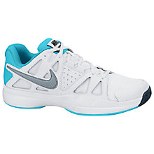 Buy Nike Air Vapor Advantage Women's Tennis Shoes, White/Blue Online at johnlewis.com